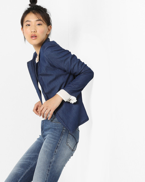 Denim Blazer With Notched Lapels By AJIO ( Darkblue )