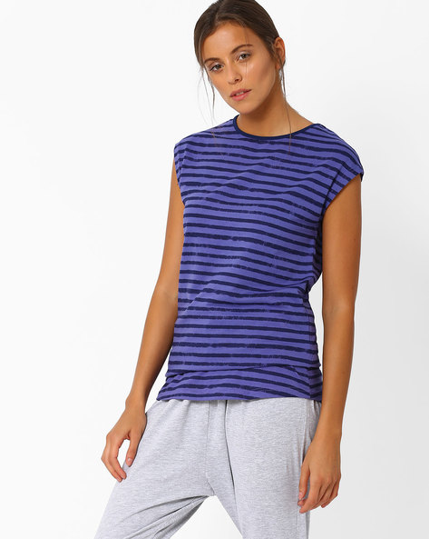 Striped Top With Cap Sleeves By AJIO ( Purple )