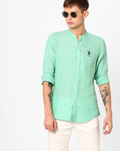 Linen Shirt With Mandarin Collar By US POLO ( Green )