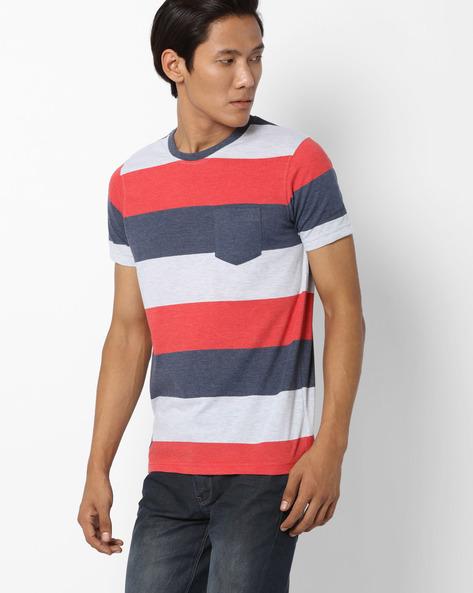 Crew-Neck Striped T-Shirt By TEAM SPIRIT ( Red )