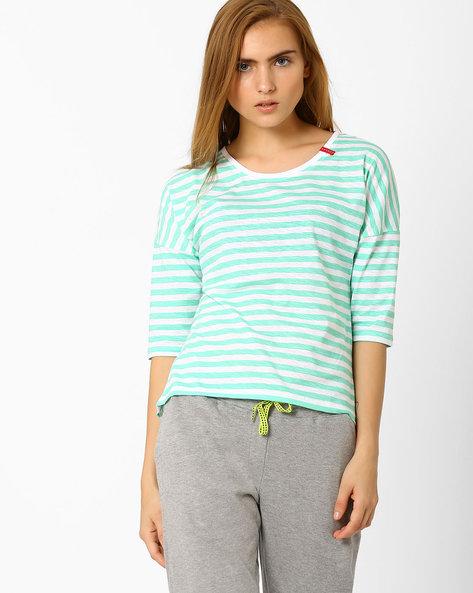 Striped High-Low T-shirt By TEAM SPIRIT ( Ltgreen )