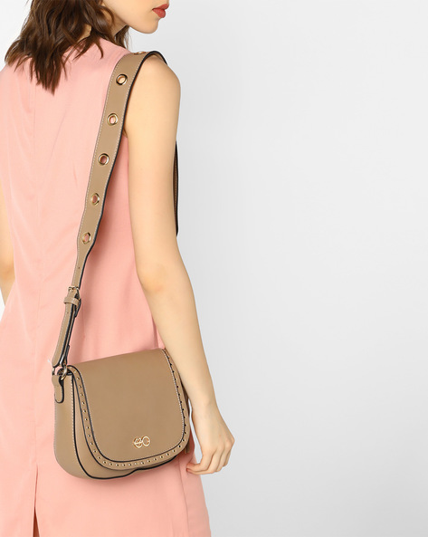 Sling Bag With Metal Eyelets By E2O ( Beige )