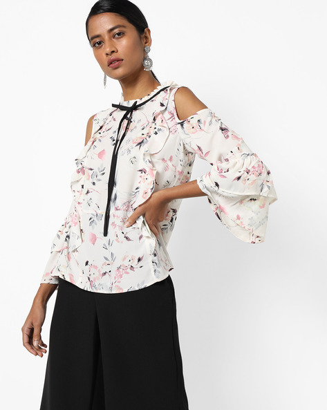 Floral Print Cold-Shoulder Top By AJIO ( Offwhite )