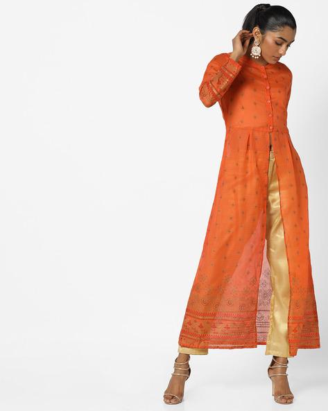 Printed Kurta With Front Slit By Global Desi ( Orange )