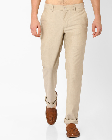 Slim Fit Flat-Front Trousers By NETWORK ( Beige )
