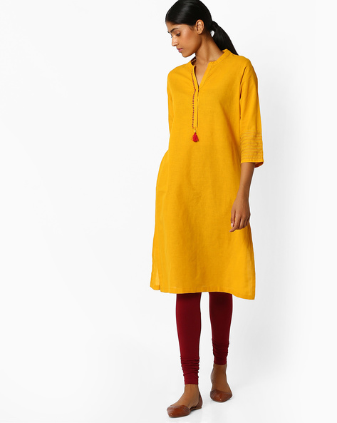 Ochre Straight Kurta With Mandarin Collar By Rangriti ( Assorted )