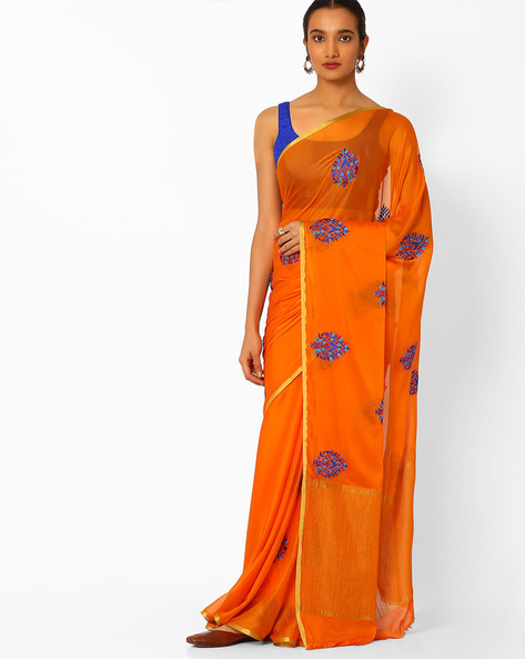 Embroidered Saree With Contrast Border By Amori ( Orange )