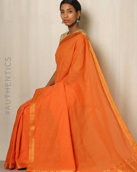 Handwoven Mangalgiri Cotton Saree With Zari Border By Indie Picks ( Orange )