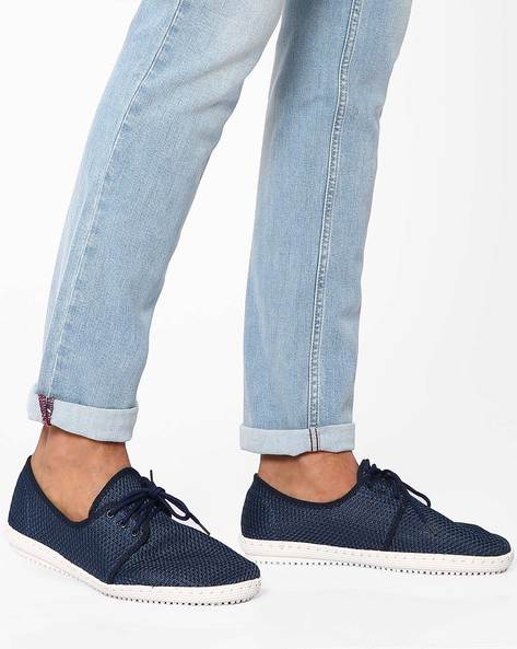 Mesh Lace-Up Casual Shoes By Muddman ( Navy )