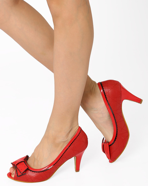 Peep-Toes With Bow By AJIO ( Red )