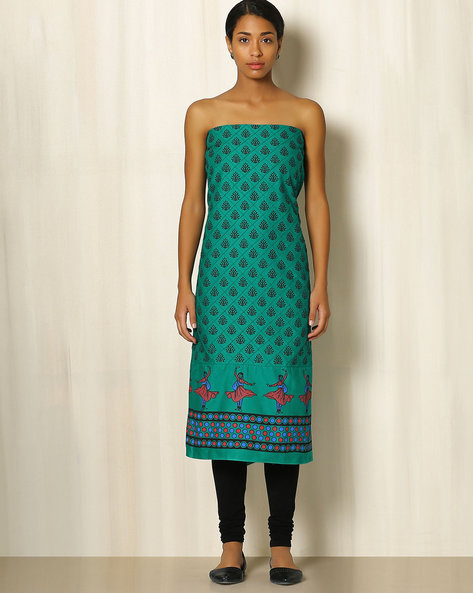 Printed South Cotton Kurta Fabric By Indie Picks ( Turquoise )