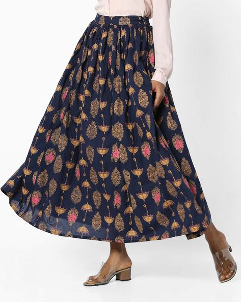 Printed Skirt With Drawstring Waist By AJIO ( Navy )