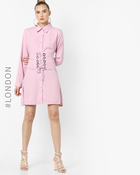Shirt Dress With Corset Waist By Glamorous ( Lavender )