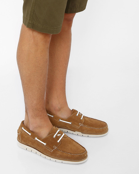 N9-Treated Suede Boat Shoes By AJIO ( Tan )