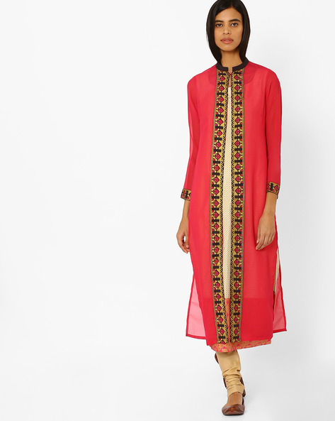 Layered Kurta With Mandarin Collar By W ( Pink )