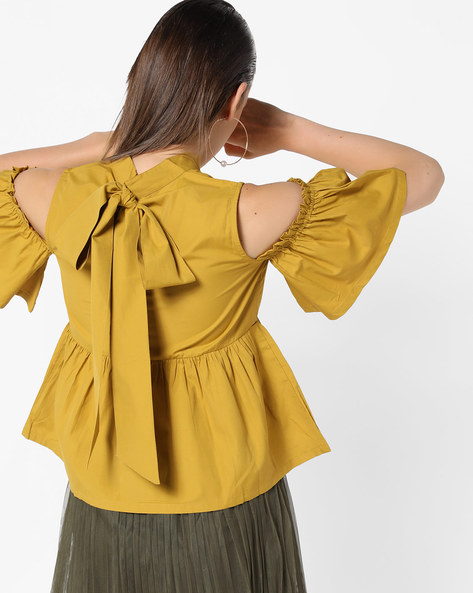 Cold-Shoulder Top With Bow Tie-Up By AJIO ( Lgtyellow )
