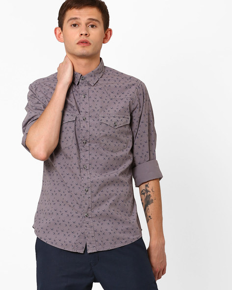 Bird Print Slim Fit Shirt By AJIO ( Grey )