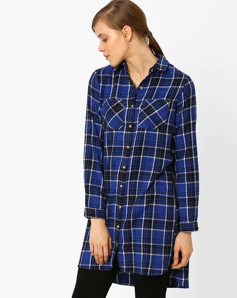 Flannel Checked Shirt Dress By AJIO ( Blue )
