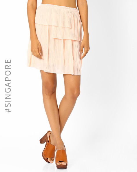 Pleated Mini Skirt By MDS ( Nude )