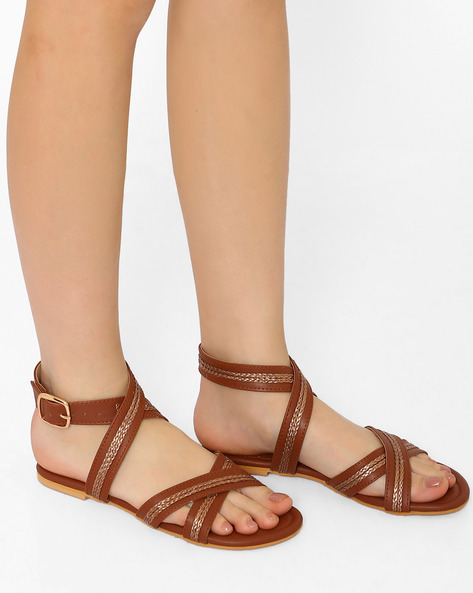 Flats With Criss-Cross Straps By Curiozz ( Brown )