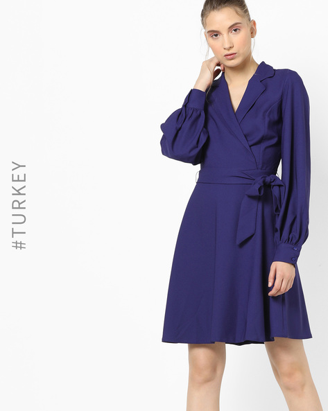 A-line Dress With Fabric Belt By TRENDYOL ( Purple )