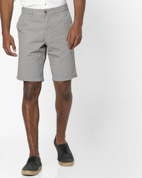 Slim Fit Flat-Front Shorts By Wills Lifestyle ( Grey )