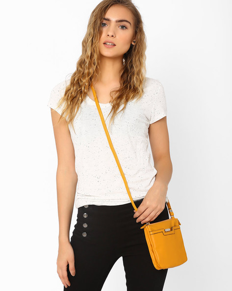 Sling Bag With Zip Closure By Lavie ( Yellow )