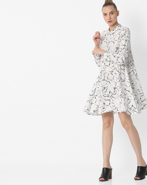 Printed Shirt Dress By RIO ( White )