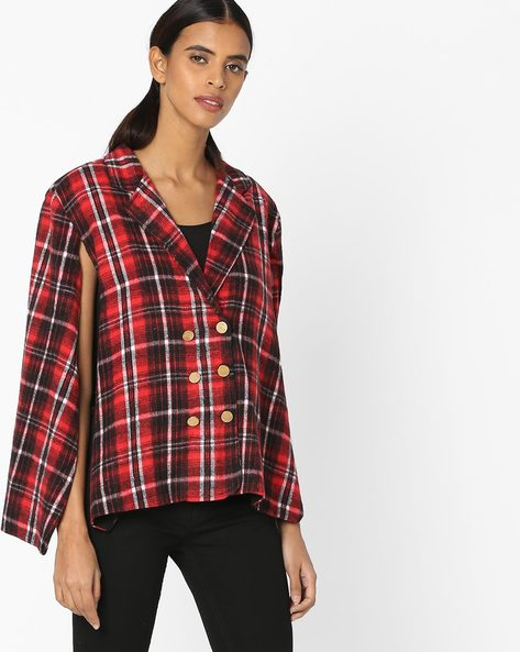 Checked Poncho Jacket With Side Slits By Sassafras ( Red )