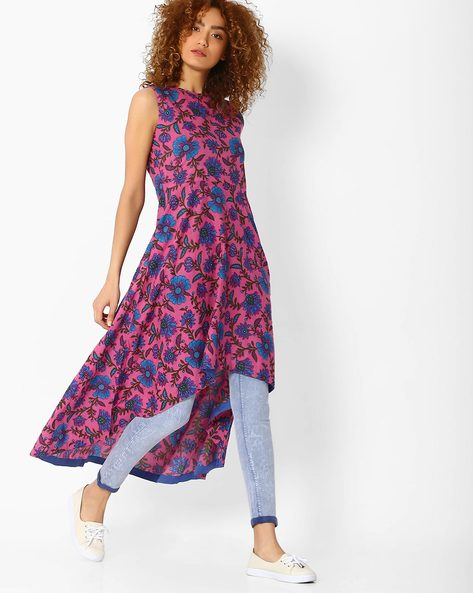 High-Low Floral Print Kurta By Sassafras ( Pink )