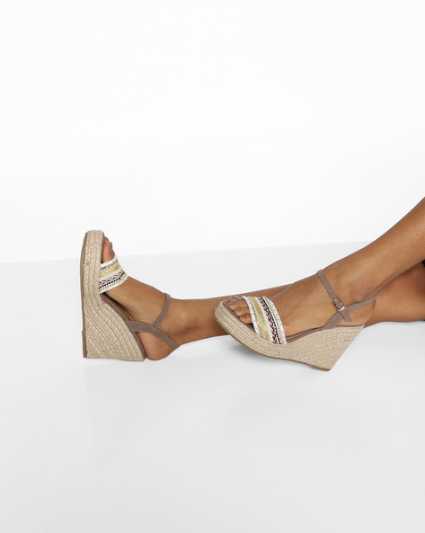 Ankle-Strap Wedges With Braided Midsole By Truffle Collection ( Beige )