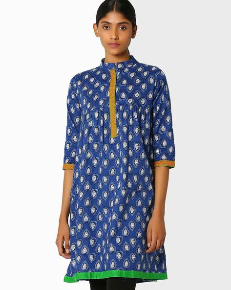 Printed Kurta With Embroidery By Libas ( Blue )