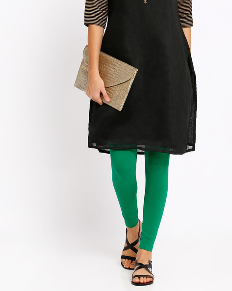Ankle-Length Leggings By Go Colors ( Green )