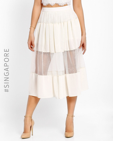 Sheer Midi Skirt By MDS ( Cream )