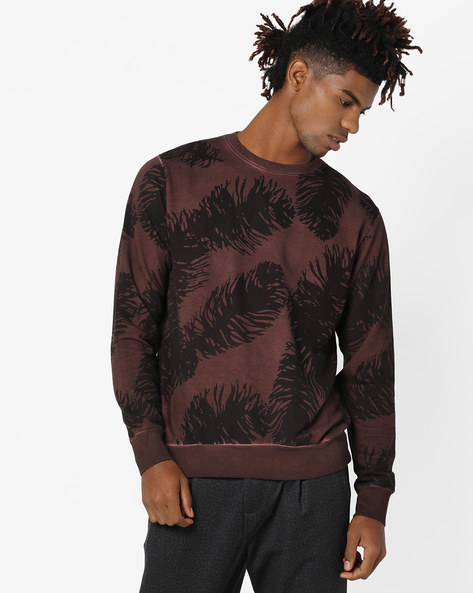 Printed Crew-Neck Sweatshirt By Blue Saint ( Charcoal )