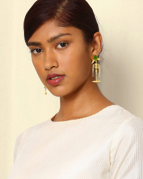 Gold-Plated Drop-Earrings With Cutwork & Stone By Indie Picks ( Green )