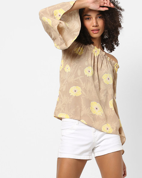Off-Shoulder Floral Print Top With Bell Sleeves By Vero Moda ( Silver )