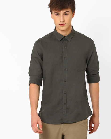 Linen Shirt With Patch Pocket By NETPLAY ( Olive )