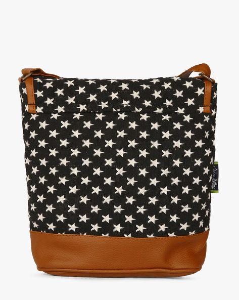 Jacquard Sling Bag By Kanvas Katha ( Black )