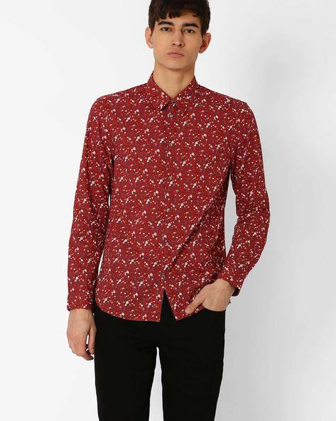 Floral Print Slim Fit Shirt By Jack & Jones ( Maroon )