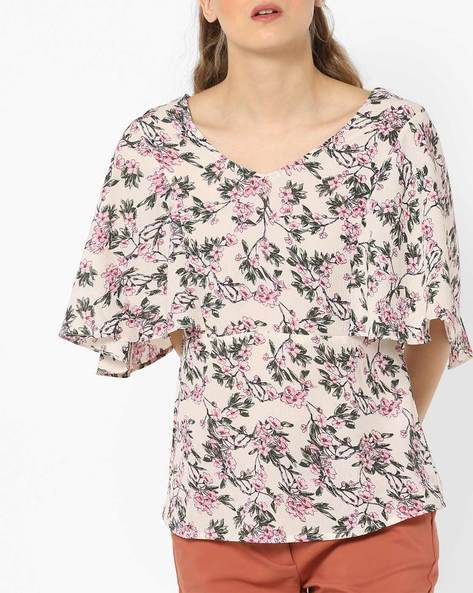 Floral Print Top With Flared Sleeves By And ( Assorted )