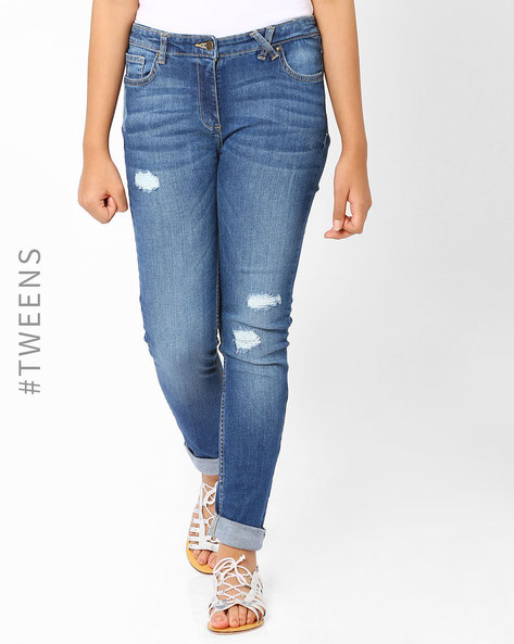 Lightly-Washed Distressed Jeans By AJIO ( Lightblue )