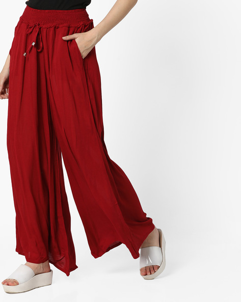 Flared Palazzos With Drawstring Waist By Mystere Paris ( Maroon )