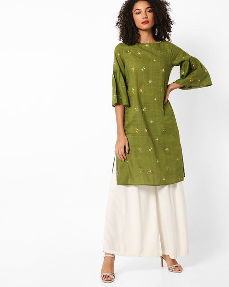 Printed Straight Kurta With Flared Sleeves By AJIO ( Olive )