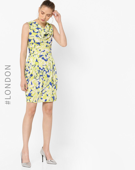 Floral Print Dress With Cowl Neck By Closet London ( Multi )