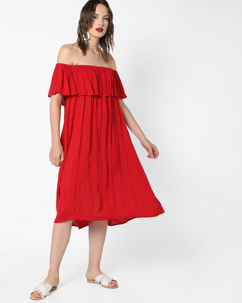 Off-Shoulder Dress With Frills By Evah London ( Red )
