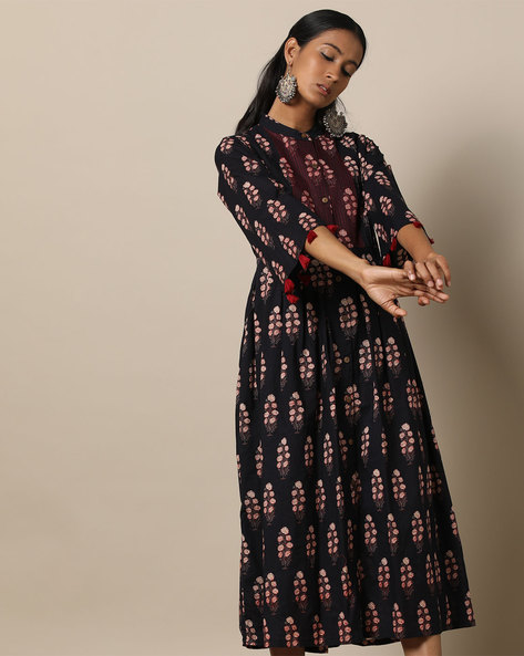 Printed Cotton Pleated Long Dress With Pintucks By Seasons ( Black )