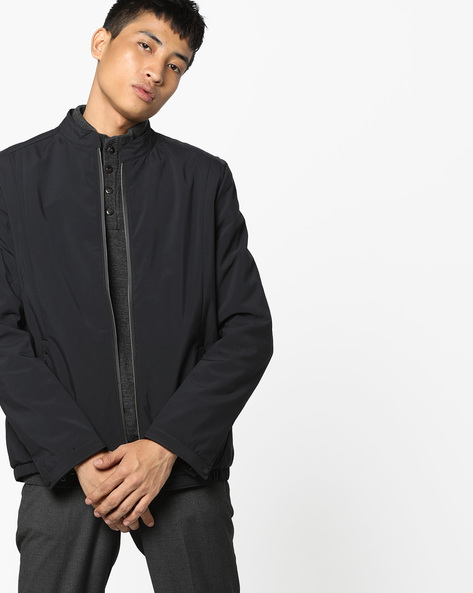 Light Weight Jacket With Front Zipper By Fort Collins ( Black )