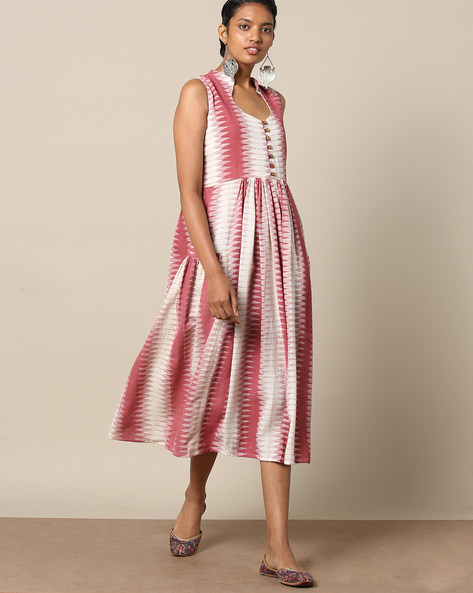 Sleeveless Cotton Fit & Flare Dress With Ikat Print By Indie Picks ( Red )