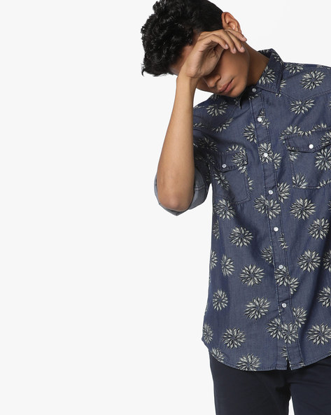 Printed Shirt With Pockets By AJIO ( Blue )